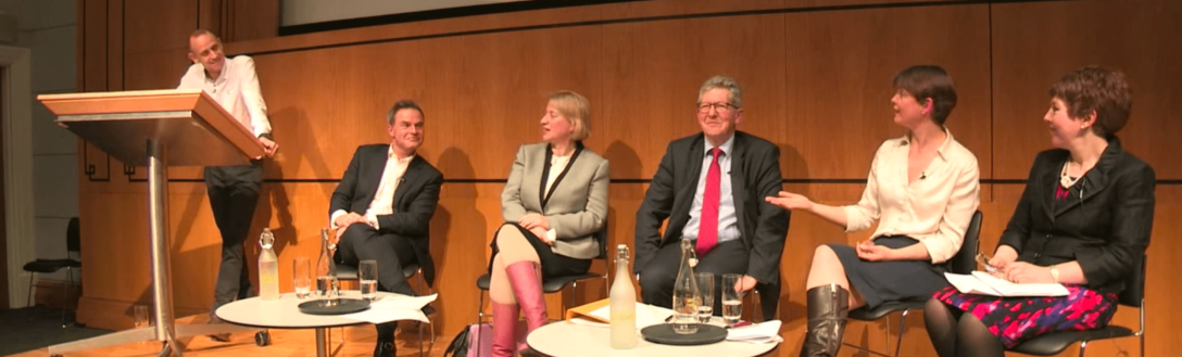 A still from the PinkNews General Election Debate video showing the moderator and all 5 of the panelists
